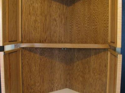 Custom 4-door corner cabinet - open view