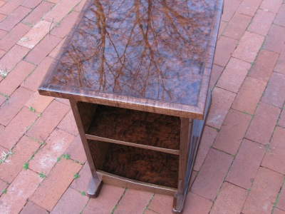 Burl Walnut Veneer End Table
