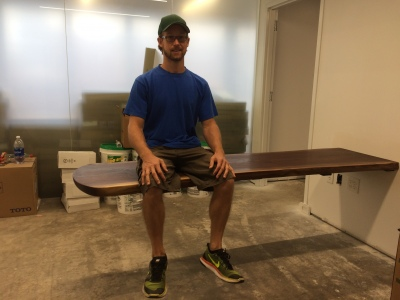 Walnut Slab Reception Desk - Complete